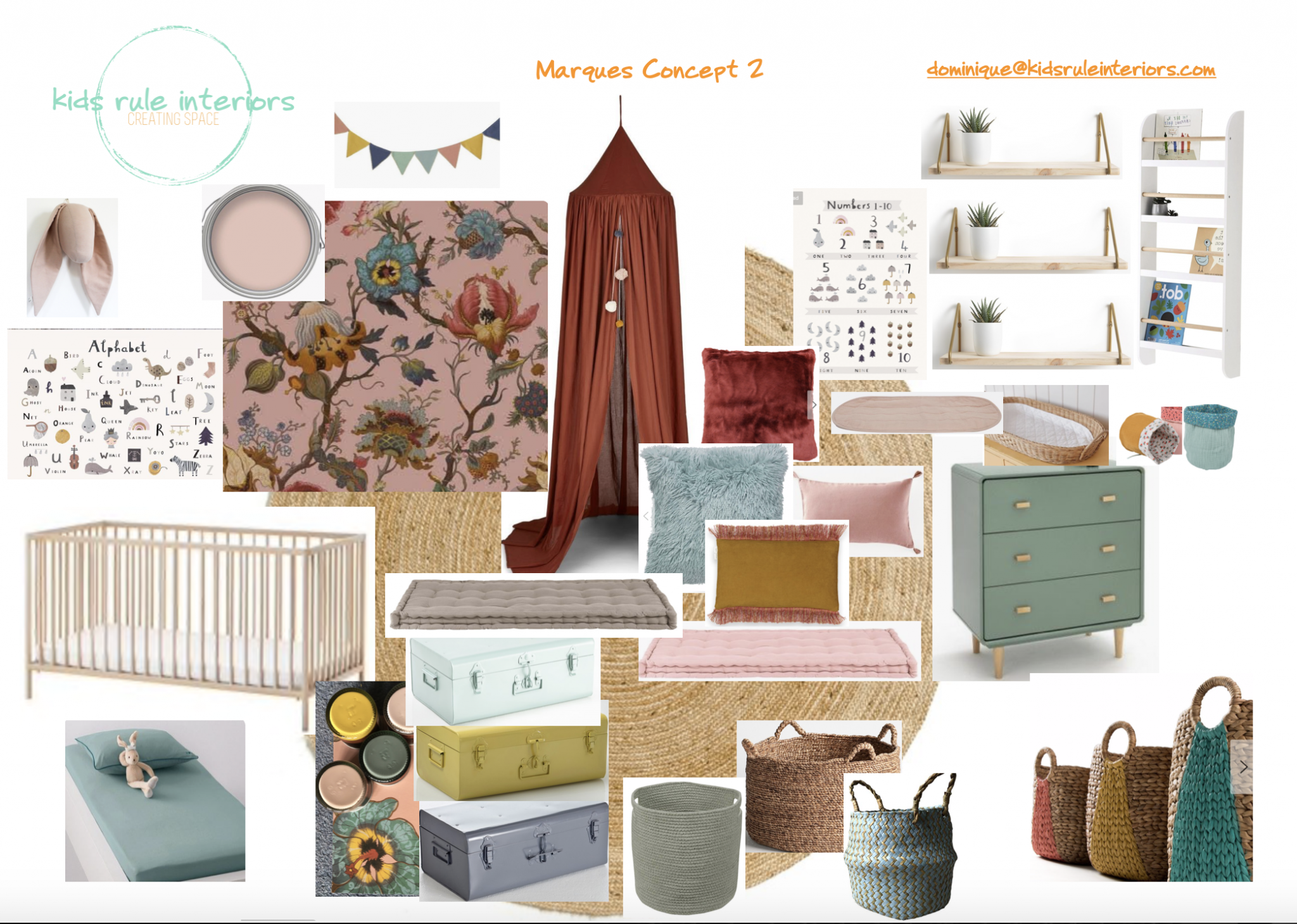 Baby girl nursery concept by Kids Rule interiors with bold floral wallpaper with blush pink, muted teal and rust accents with rustic wooden furniture and woven details.