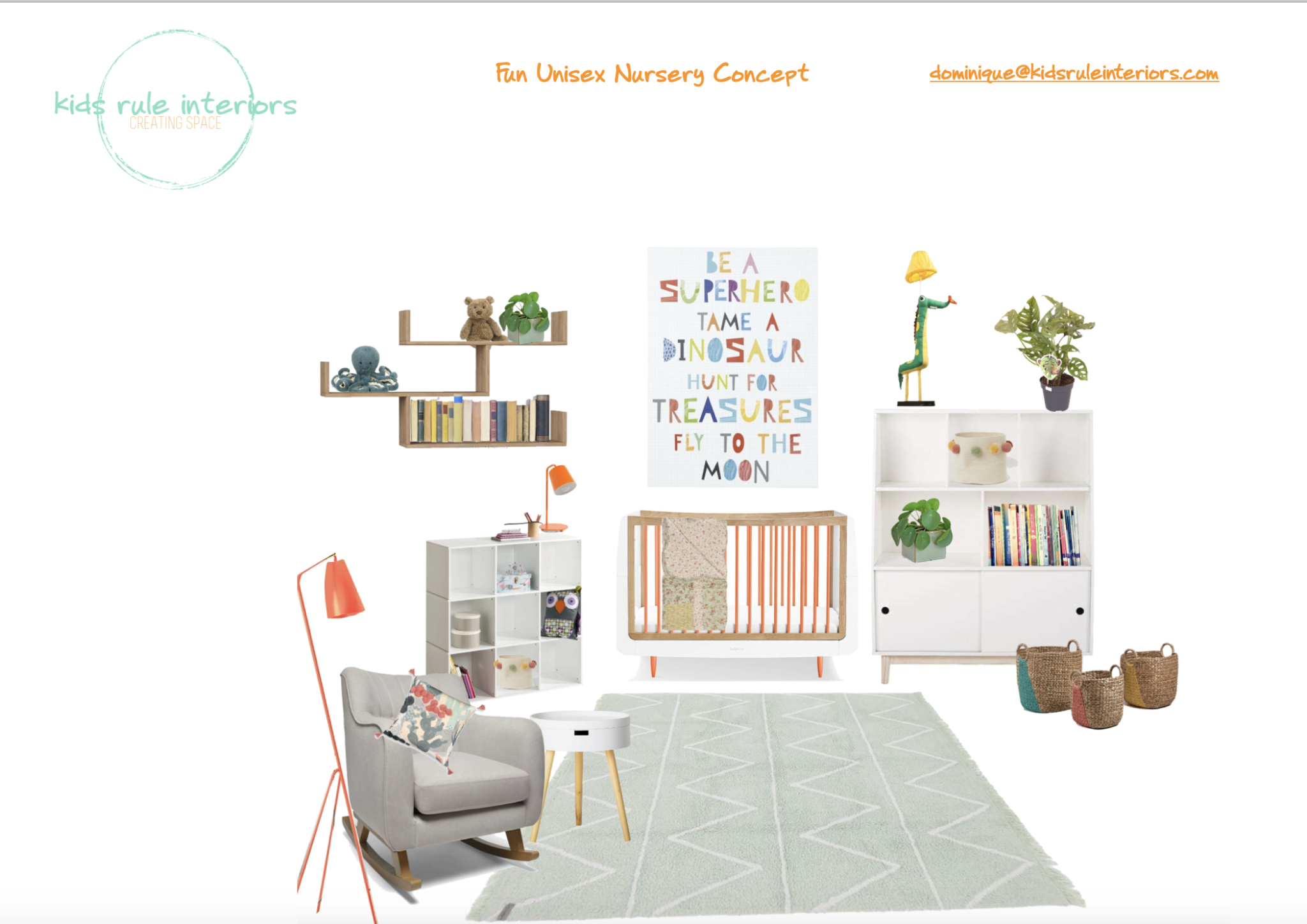 a light, bright, fun nursery concept with pops of orange and soft- edged furniture and circular accents.